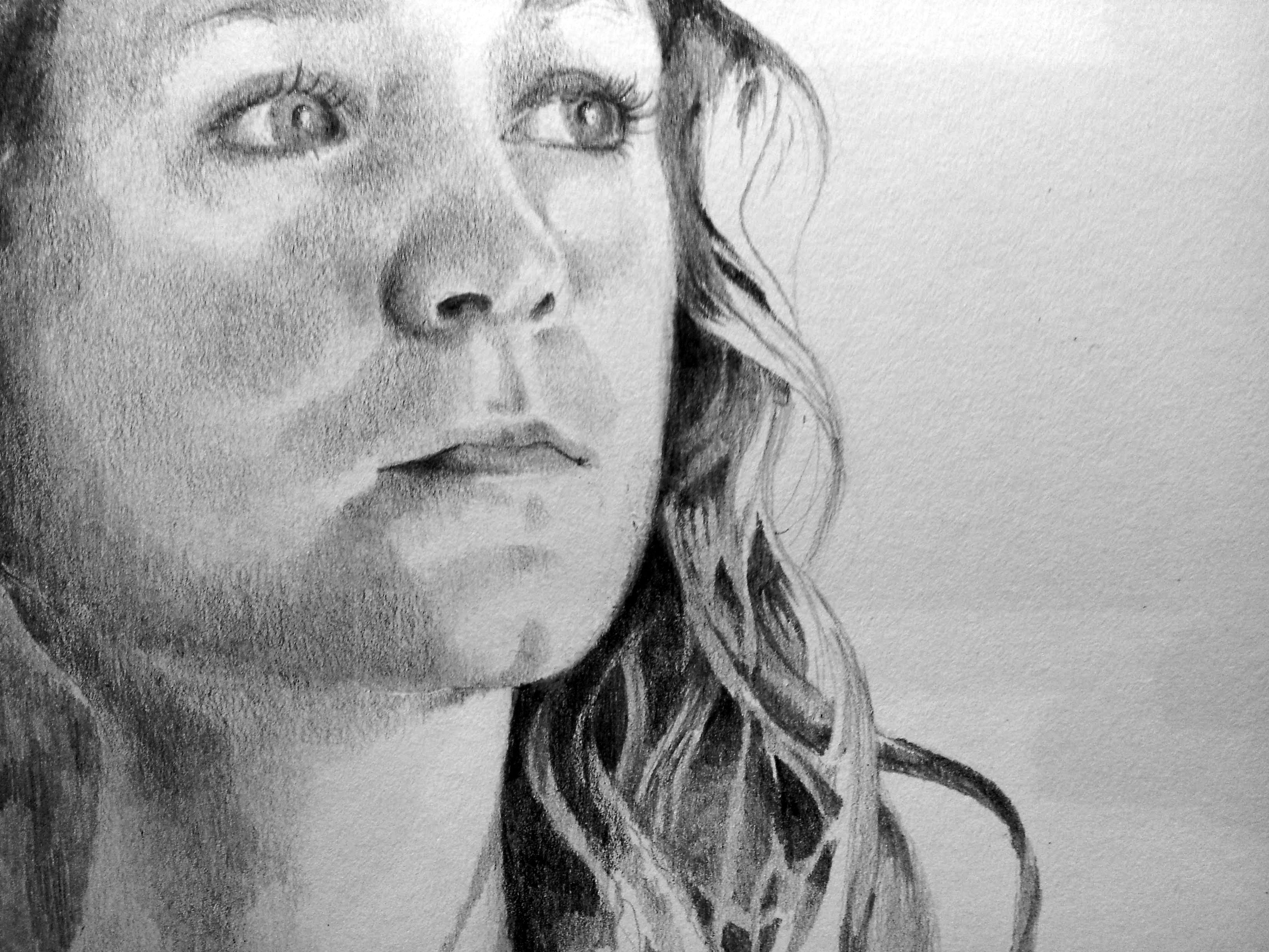 pencil, graphite, drawing portrait, girl, detailed