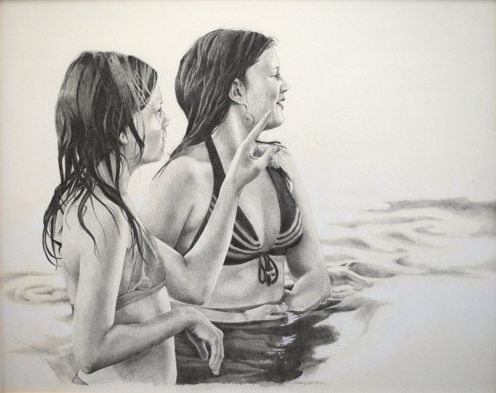 pencil drawing, portrait, girls, detailed, realistic