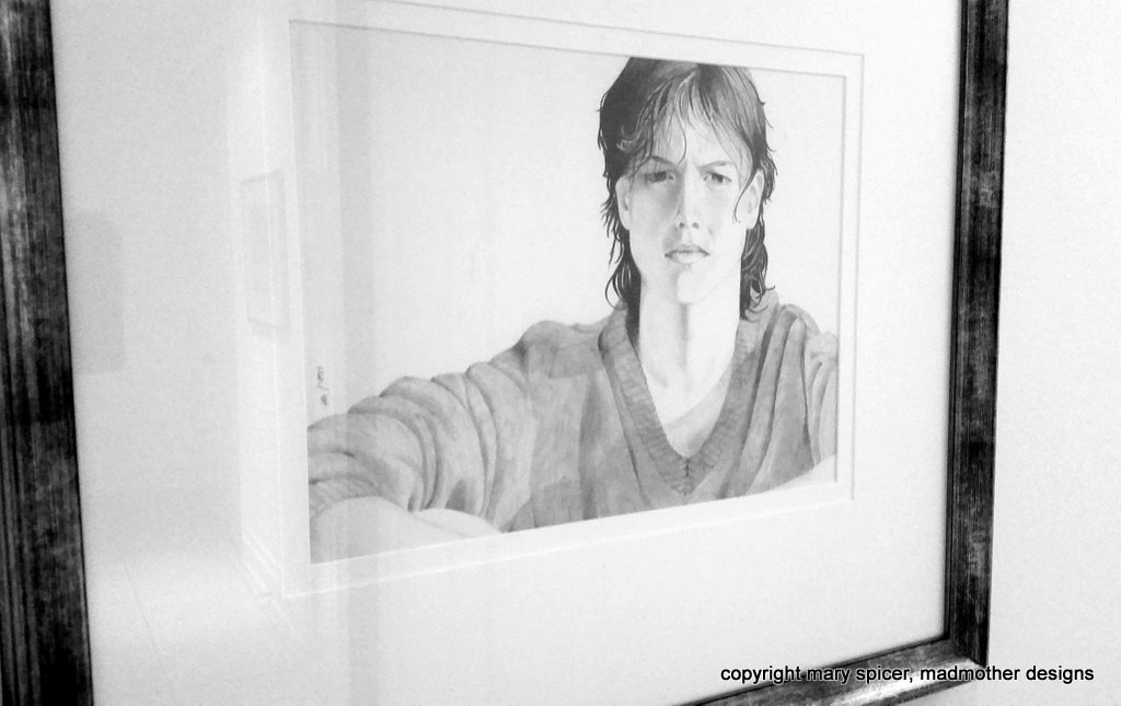 pencil, drawing, portrait, framed, girl