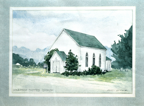 drawing, pen and ink, watercolour, church