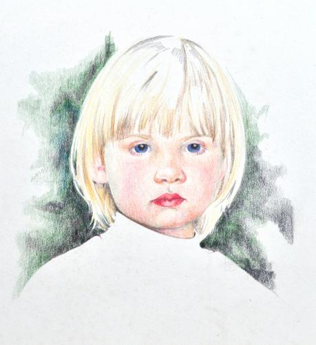 pencil drawing, portrait, girl, detailed, realistic, colour pencil, prismacolor